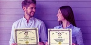 Showing Couple holding certificates for Psychic-Mediumship Training