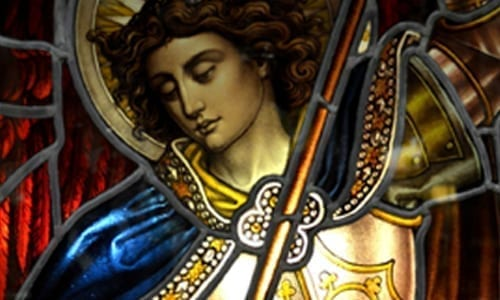 Stain Glass Image of Michael
