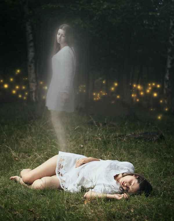Ghost girl on forest floor leaving body