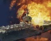 Aircraft carrier flight deck on fire.