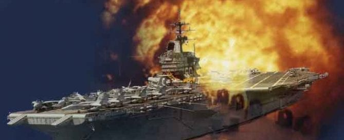 Aircraft carrier flight deck on fire