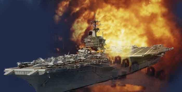 Aircraft carrier flight deck on fire
