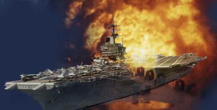 Aircraft carrier flight deck on fire.